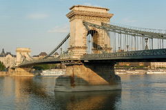 Chain-bridge. Chain Bridge is the symbol to Budapest. Finished in 1849 by the count Istvan Szechenyi and designed by the English architect William Tierney Clark royalty free stock image