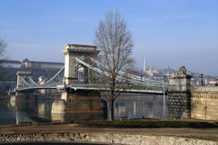 Chain bridge. Over Danube river in Budapest, Hungary. The Széchenyi Lánchíd in Budapest, Hungary Stock Photography