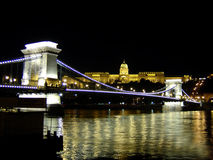 Chain bridge. And manor hill at night Royalty Free Stock Photography