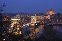 The Chain Bridge. Is a suspension bridge in Budapest royalty free stock images