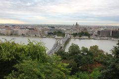 Chain bridge above the river Danube, Budapest Royalty Free Stock Photo