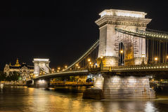 The Chain Bridge. Across the Danube River in Budapest Royalty Free Stock Images
