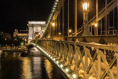 The Chain Bridge. Across the Danube River in Budapest Royalty Free Stock Image