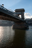 Chain Bridge from below. View on the Chain Bridge, crossing the Danube River, Budapest Royalty Free Stock Photography