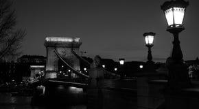 Chain Bridge Black and White. Chain Bridge spans Danube river in Budapest, black and white picture Stock Image
