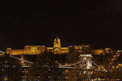 Chain Bridge and the Buda Castle in the Background at Night royalty free stock photography