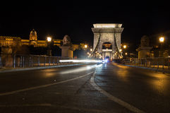 Chain Bridge and the Buda Castle in the Background at Night Royalty Free Stock Photo