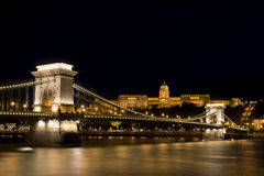 Chain Bridge And Buda Castle, Budapest, Hungary Stock Photos