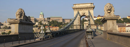 The Chain Bridge and Buda Castle in Budapest stock photo