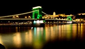 Chain Bridge and Buda Castle. By the Danube River Budapest, Hungary royalty free stock photos