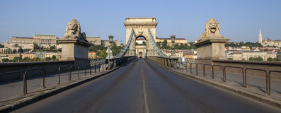 Chain Bridge, Buda Castle and the Fisherman's Bastion in Budapes Stock Images