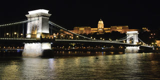 Chain bridge and Buda Castle at night Stock Photos