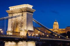 Chain Bridge and Buda Castle at Night in Budapest Stock Photography