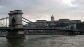 Chain Bridge and Buda Castle. View of Chain Bridge with Buda Castle in the background Royalty Free Stock Images