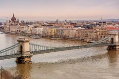 Chain Bridge between Buda and Pest on the river Danube, Hungary.  royalty free stock images