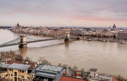 Chain Bridge between Buda and Pest on the river Danube, Hungary.  stock images