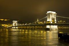 Chain Bridge, Budapest. Chain Bridge in Budapest by night Stock Photos