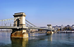 The Chain Bridge in Budapest royalty free stock image
