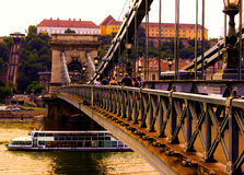 Chain Bridge, Budapest. Chain bridge as the sun sets with golden light filling the air in Budapest Stock Image
