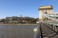 Chain Bridge in Budapest with Buda Castle Stock Photography