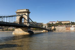 Chain Bridge in Budapest with Buda Castle Stock Photo