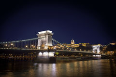 Chain Bridge and Budapest Castle Royalty Free Stock Photos