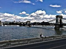 Chain bridge at Budapest stock images