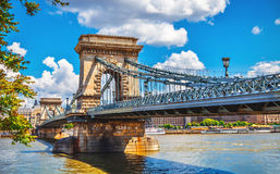 Chain bridge in budapest. Chain bridge on danube river in budapest city hungary Stock Image