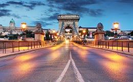 Chain Bridge in Budapest in evening Stock Photos
