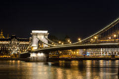 The Chain Bridge in Budapest in the evening. Sightseeing in Hungary. Royalty Free Stock Photos