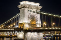 The Chain Bridge in Budapest in the evening. Sightseeing in Hungary. Royalty Free Stock Image