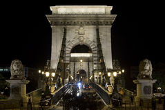 Chain bridge in Budapest, front view. Chain bridge in Budapest, Hungary at night. Front view Stock Image