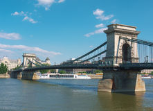 Chain bridge, Budapest, Hungary. Chain bridge is one of the most famous landmarks of Budapest Royalty Free Stock Image