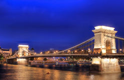 Chain Bridge in Budapest, Hungary. The Chain Bridge over Danube is the capital first bridge, a historical monument, has attracted many tourist to Budapest. Count Stock Photography