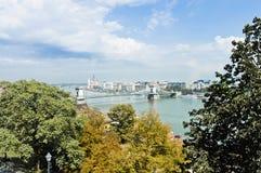 Chain Bridge at Budapest, Hungary stock photo