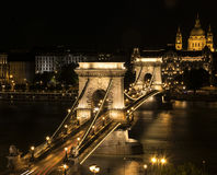 CHAIN BRIDGE AT NIGHT Royalty Free Stock Images