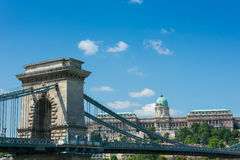 Chain bridge Budapest Hungary with castle hill Royalty Free Stock Photos