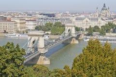 Chain Bridge in Budapest, Hungary, Europe Stock Images