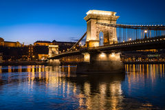 Chain bridge in Budapest, Hungary, Europe. Stock Images