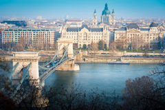 Chain bridge in Budapest, Hungary, Europe. Royalty Free Stock Images
