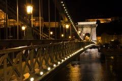 Chain bridge Budapest Hungary illuminated at night Royalty Free Stock Image