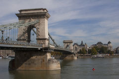 Chain Bridge in Budapest Hungary. Low angle shot of Chain Bridge in Eastern Europe Stock Photos