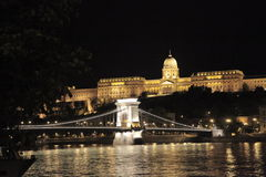 Chain Bridge, Budapest, Hungary, night royalty free stock images