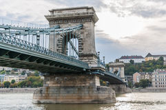 Chain bridge. Budapest, Hungary: A suspension bridge that spans the River Danube between Buda and Pest Stock Images
