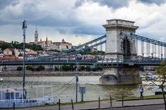 The chain bridge in Budapest, Hungary. Stock Photography