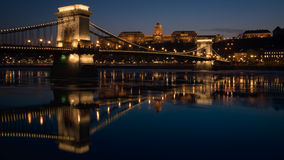 Chain Bridge - Budapest. Landmark of Budapest - Chain Bridge at night Stock Photos