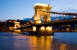 The Chain Bridge in Budapest lit by the street lights Stock Image