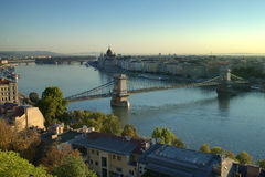 Chain Bridge in Budapest in the morning Royalty Free Stock Photography