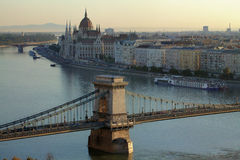 Chain Bridge in Budapest in the morning Royalty Free Stock Photos