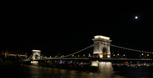 Chain Bridge of Budapest by night. Budapest, Hungary - Chain Bridge over Danube at night Royalty Free Stock Photo
